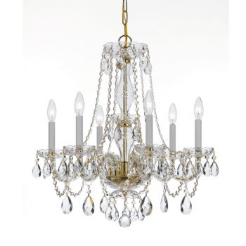 """Crystorama Traditional Crystal 6-Light 25"""" Traditional Chandelier in Polished Brass with Clear Hand Cut Crystals"""