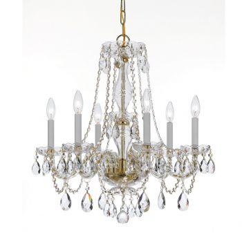 Crystorama Trad Crystal 6-Light Swarovski Chandelier in Polished Brass