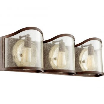 "Quorum Salento 30"" 3-Light Bathroom Vanity Light in Vintage Copper"