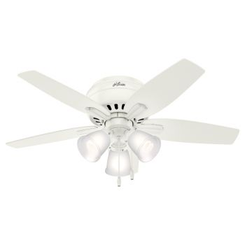 "Hunter Newsome 42"" 3-Light Ceiling Fan in Fresh White"