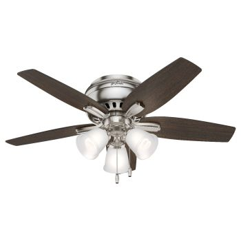"Hunter Newsome 42"" 3-Light Ceiling Fan in Brushed Nickel"