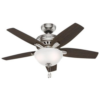 "Hunter Newsome 42"" 2-Light Indoor Ceiling Fan in Nickel/Chrome"