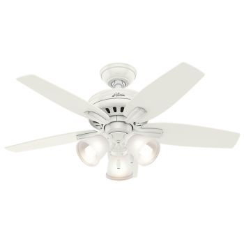 "Hunter Newsome 42"" 3-Light Indoor Ceiling Fan in White"