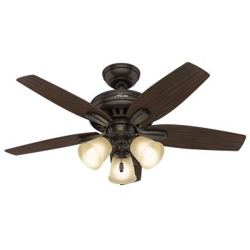 "Hunter Newsome 42"" 3-Light Indoor Ceiling Fan in Bronze/Brown"