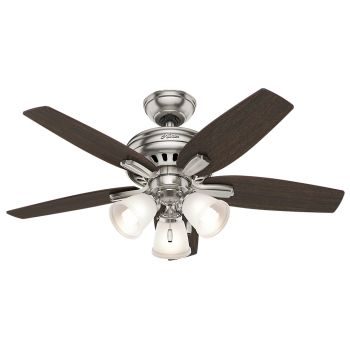 "Hunter Newsome 42"" 3-Light Indoor Ceiling Fan in Brushed Nickel/Chrome"