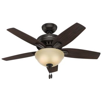 "Hunter Newsome 42"" 2-Light Indoor Ceiling Fan in Bronze/Brown"