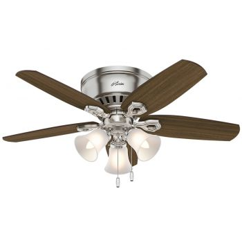 "Hunter Builder 42"" Hugger LED Ceiling Fan in Brushed Nickel/Chrome"