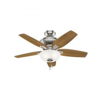 "Hunter Kenbridge 42"" 3-Light LED Indoor Ceiling Fan in Nickel/Chrome"
