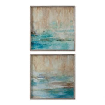 Uttermost Through The Mist Abstract Art in Silver Leaf Frame (Set of 2)