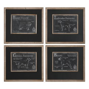 """Uttermost Canis Lupus Familiaris 24.25"""" Dog Prints in Firwood Frame (S/4)"""