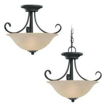 Sea Gull Lighting Del Prato 2-Light Semi-Flush Convertible Pendant in Chestnut Bronze