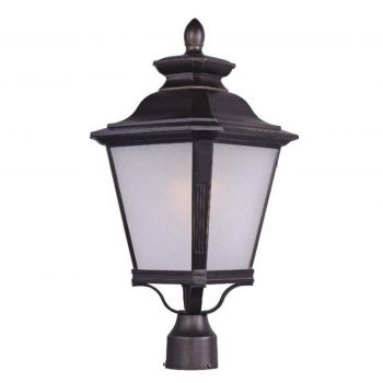 """Maxim Knoxville 23"""" LED Outdoor Frosted Seedy Post Lantern in Bronze"""