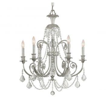 "Crystorama Regis 26"" 6-Light Italian Crystal Chandelier in Olde Silver"