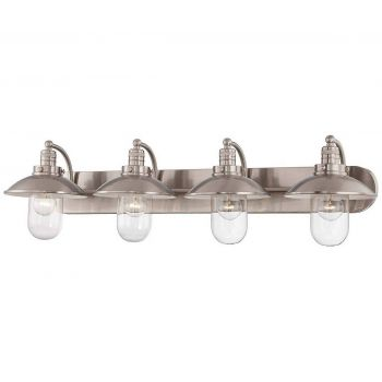 "Minka Lavery Downtown Edison 4-Light 39"" Bathroom Vanity Light in Brushed Nickel"