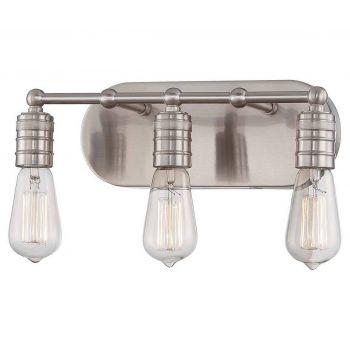 "Minka Lavery Downtown Edison 3-Light 15"" Bathroom Vanity Light in Brushed Nickel"