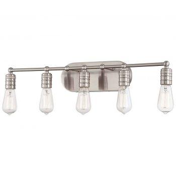 "Minka Lavery Downtown Edison 5-Light 28"" Bathroom Vanity Light in Brushed Nickel"