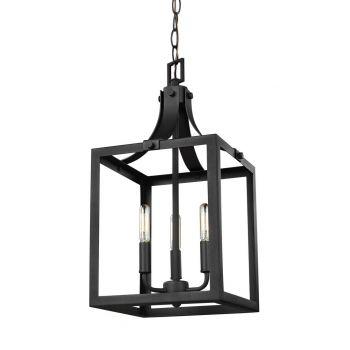 """Sea Gull Lighting Labette 10"""" 3-Light Foyer Pendant in Black"""
