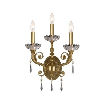 """Crystorama 3-Light 17"""" Wall Sconce in Aged Brass with Clear Hand Cut Crystals"""