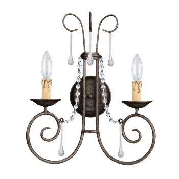 """Crystorama Soho 2-Light 17"""" Wall Sconce in Dark Rust with Clear Spectra Crystals"""