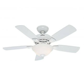 """Hunter Caraway 44"""" Ceiling Fan in Snow White"""