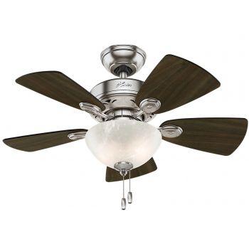 "Hunter Watson 34"" 2-Light Indoor Ceiling Fan in Brushed Nickel"