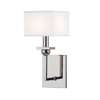 """Hudson Valley Morris 5.5"""" Wall Sconce in Polished Nickel w/ White Shade"""