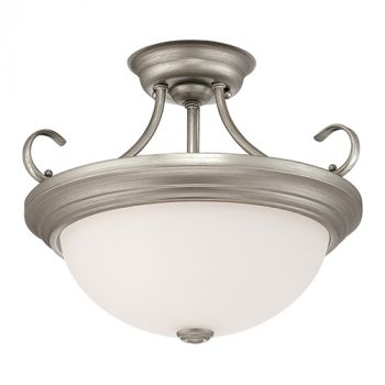 Millennium Lighting 5000 Series 2-Light Semi-Flush in Rubbed Silver