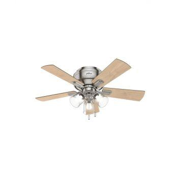 """Hunter Crestfield 42"""" 3-Light Ceiling Fan in Brushed Nickel"""