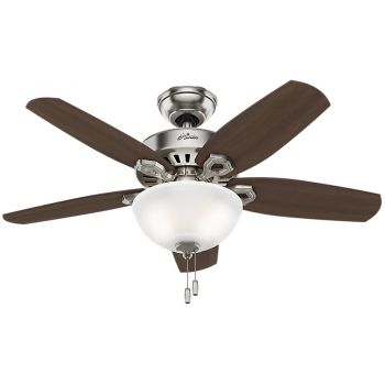 "Hunter Builder 42"" 2-Light Indoor Ceiling Fan in Brushed Nickel/Chrome"