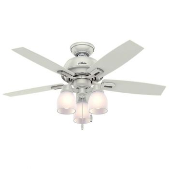"Hunter Donegan 44"" 3-Light LED Indoor Ceiling Fan in White"