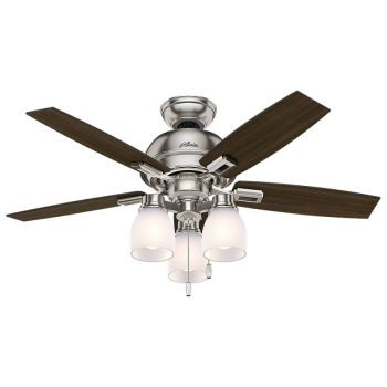 "Hunter Donegan 44"" 3-Light LED Indoor Ceiling Fan in Nickel/Chrome"