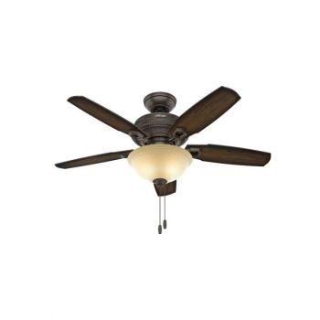 """Hunter Ambrose 44"""" 2-Light LED Indoor Ceiling Fan in Bronze/Brown"""