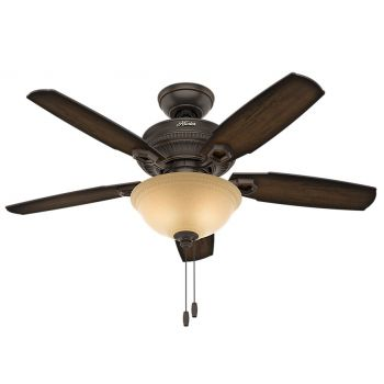 "Hunter Ambrose 44"" LED Indoor Ceiling Fan in Bronze/Brown"