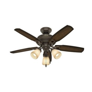 "Hunter Ambrose 44"" 3-Light LED Indoor Ceiling Fan in Bronze/Brown"