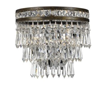 """Crystorama Mercer 2-Light 11"""" Wall Sconce in English Bronze with Hand Cut Crystal Crystals"""