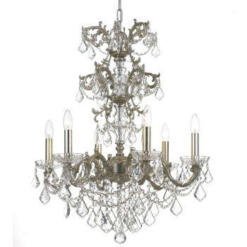 Crystorama Highland Park 6-Light Crystal Chandelier in Olde Silver
