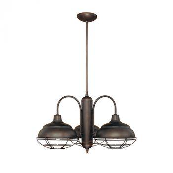 Millennium Lighting Neo-Industrial 3-Light Chandelier in Bronze