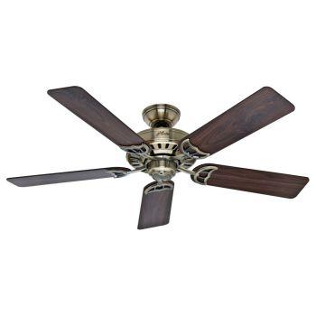 "Hunter Summer Breeze 52"" Indoor Ceiling Fan in Brass"