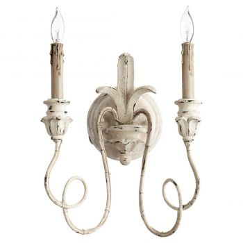 """Quorum Salento 14"""" 2-Light Wall Sconce in Persian White"""