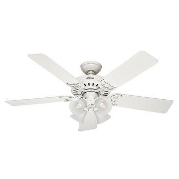 "Hunter Studio Series 52"" LED Classic Ceiling Fan in White"