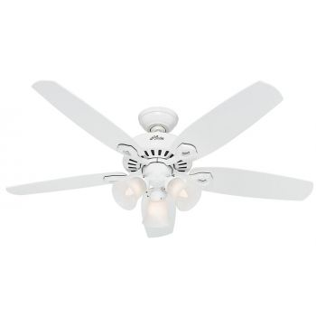 "Hunter Builder Deluxe 52"" Ceiling Fan in Snow White"