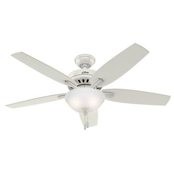 "Hunter Newsome 52"" 2-Light Indoor Clear Frosted Ceiling Fan in White"