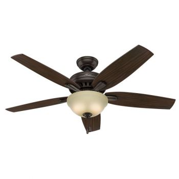 Hunter Newsome 2-Light Indoor Frosted Amber Ceiling Fan in Bronze/Brown