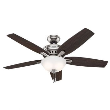 "Hunter Newsome 52"" 2-Light Indoor Cased White Ceiling Fan in Bronze/Brown"