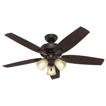 "Hunter Newsome 52"" 3-Light Indoor Ceiling Fan in Bronze/Brown"