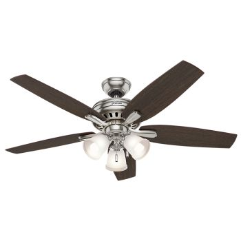 "Hunter Newsome 52"" 3-Light Ceiling Fan in Brushed Nickel"