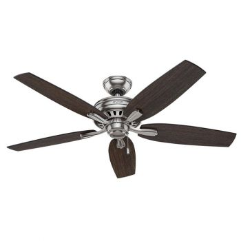 """Hunter Newsome 52"""" Indoor Ceiling Fan in Brushed Nickel/Chrome"""