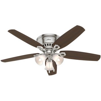 "Hunter Builder 52"" Indoor Low Profile Ceiling Fan in Brushed Nickel"