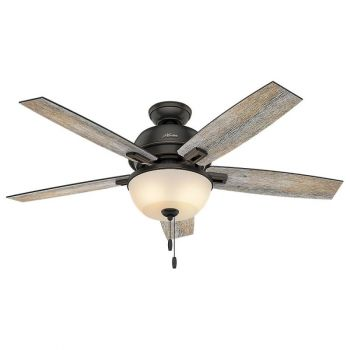 "Hunter Donegan Bowl 52"" 2-Light LED Indoor Ceiling Fan in Bronze/Brown"