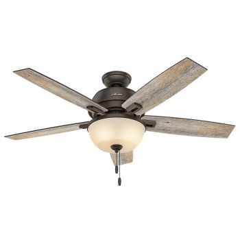 "Hunter Donegan Bowl 52"" LED Indoor Ceiling Fan in Onyx Bengal"
